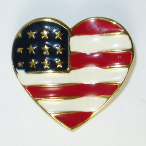 Big American Flag Heart Brooch Pin Gold Red Blue